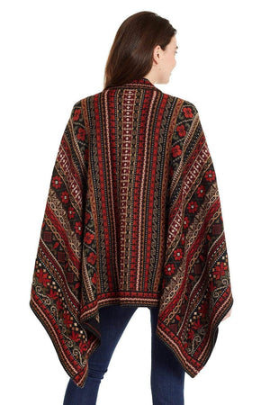 Invisible World Alpaca Poncho or Ruana Julia Embroidered 100% Alpaca Wool Poncho Ruana for Women