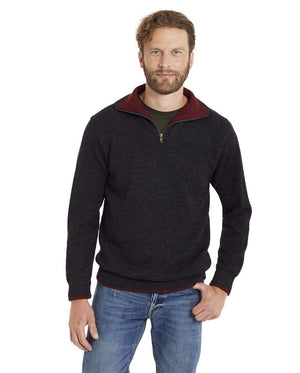 Invisible World Men's Pullover Charcoal / Small Men's Camionero Polo Neck Alpaca Jumper