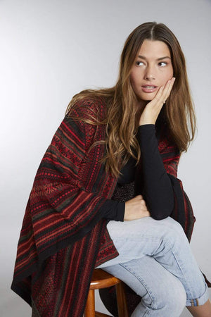 Invisible World Alpaca Poncho or Ruana Red Montreal 100% Alpaca Wool Poncho Ruana for Women
