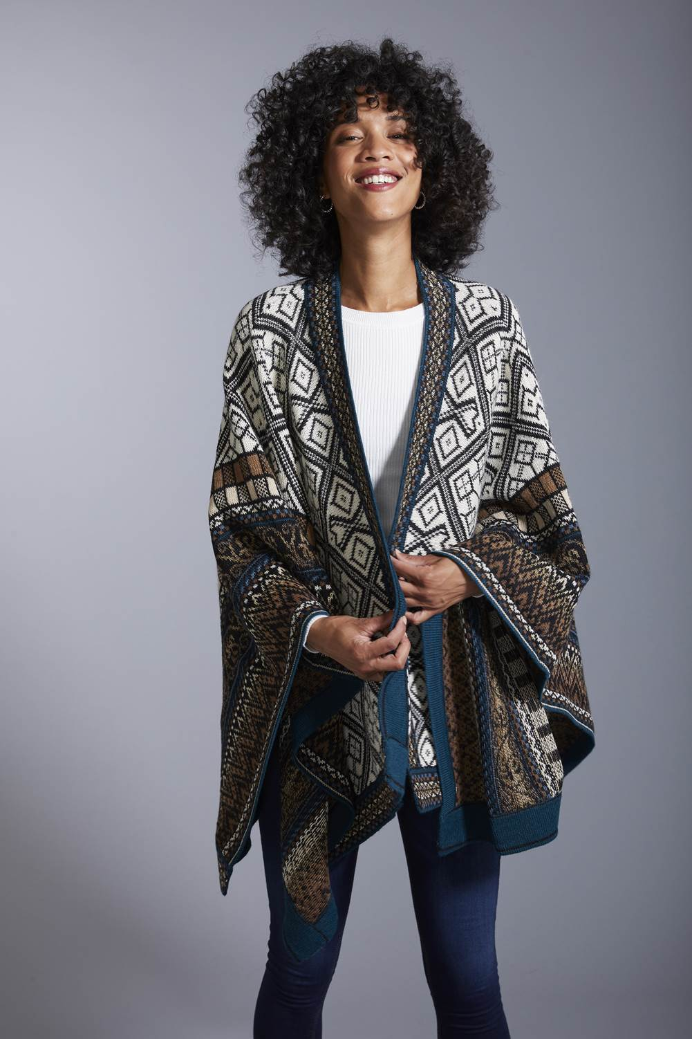 Invisible World Alpaca Poncho or Ruana Navajo Alpaca Poncho - Women's Ruana Wrap