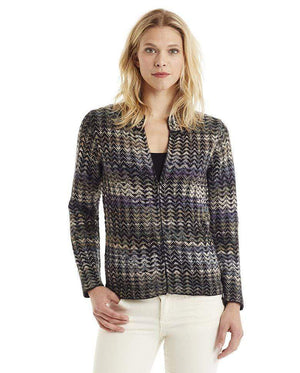 Invisible World Women's Cardigan Noelle Blue Zippered Alpaca Cardigan for Women