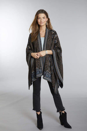 Invisible World Alpaca Poncho or Ruana Sarah Embroidered 100% Alpaca Wool Poncho Ruana for Women