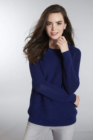 Invisible World Women's Pullover Blue / Small Slouchy Baby Alpaca Crew Neck Jumper