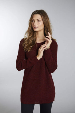 Invisible World Women's Pullover Burgundy / Small Slouchy Baby Alpaca Crew Neck Jumper