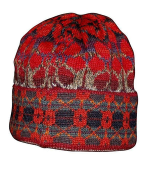 Intiwara Summer Red Women's Alpaca Hat and Fingerless Glove Set