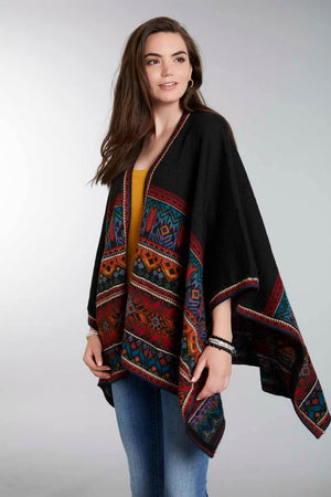 Invisible World Alpaca Poncho or Ruana Tarabuco 100% Alpaca Wool Poncho Ruana for Women