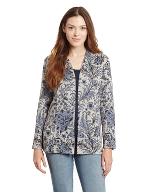 Invisible World Women's Cardigan Blue / Small Violet Pima Cotton Open Front Cardigan - Open Front Sweater