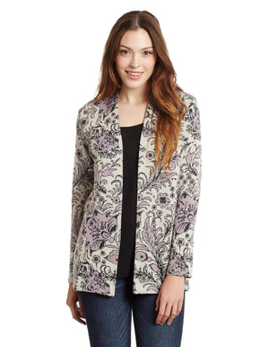 Invisible World Women's Cardigan Pale Lilac / Small Violet Pima Cotton Open Front Cardigan - Open Front Sweater