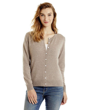 Invisible World Women's Cardigan Taupe / Small Women's Button Up Pure Cashmere Little Cardigan
