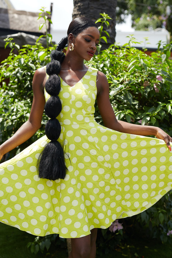 Yellow Polka Dot Skater Dress