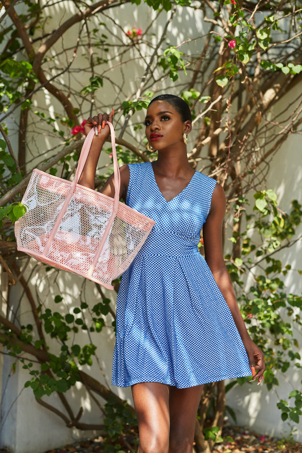 Blue Polka Dot A Line Dress