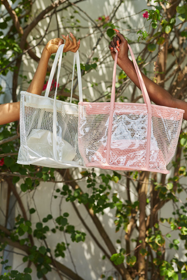 Pink Clear Patent Bag