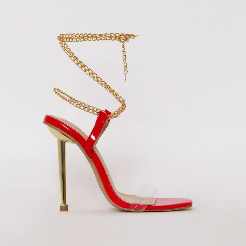Red Patent Clean Chain Heels