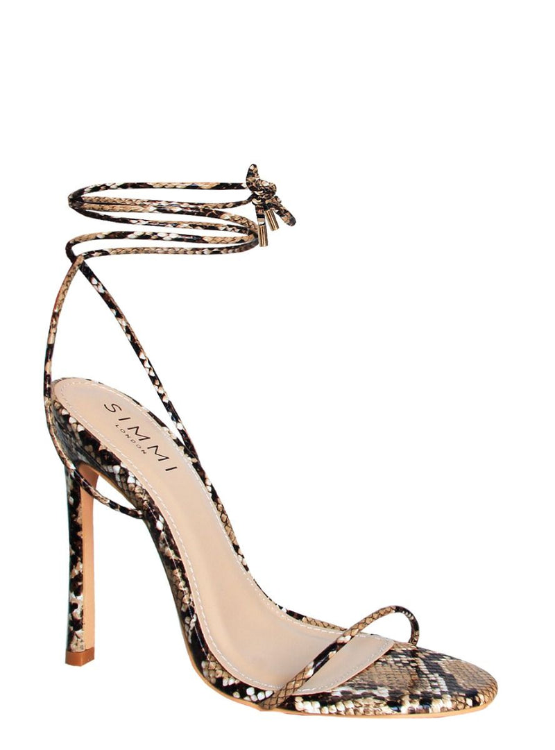 Beige Snake Lace Up Stiletto Heels