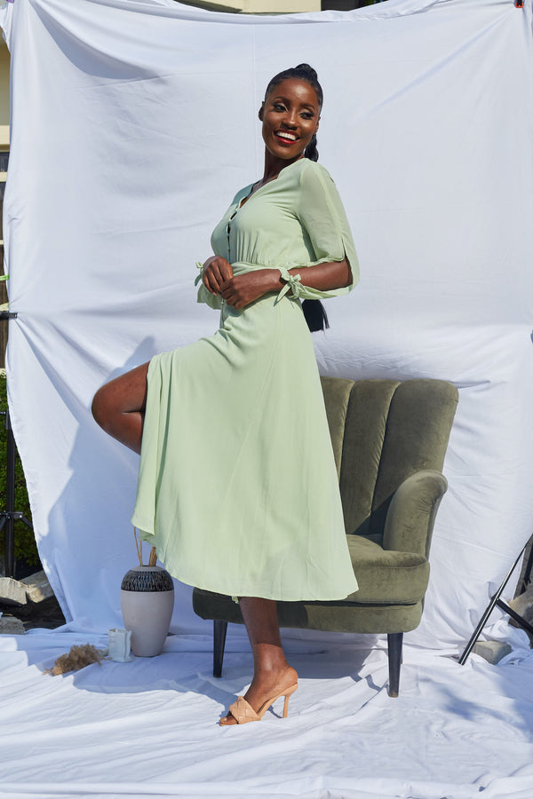 Mint Green Long Sleeve Maxi Dress