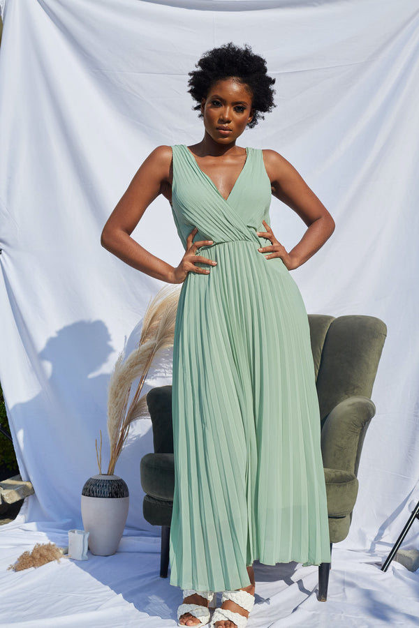 Mint Green Pleated Maxi Dress