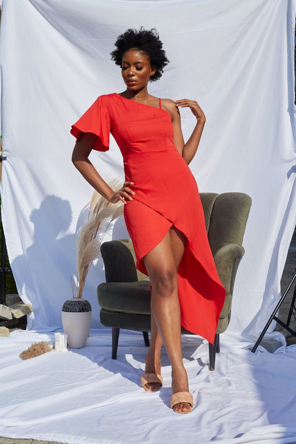 Red Asymmetric Single Sleeve Dress