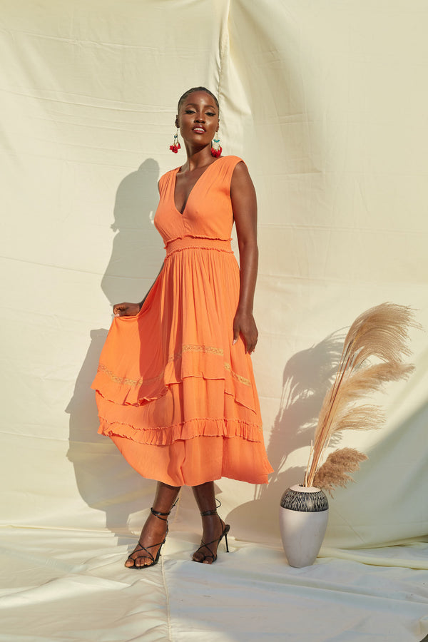 Orange V Neck Summer Maxi Dress