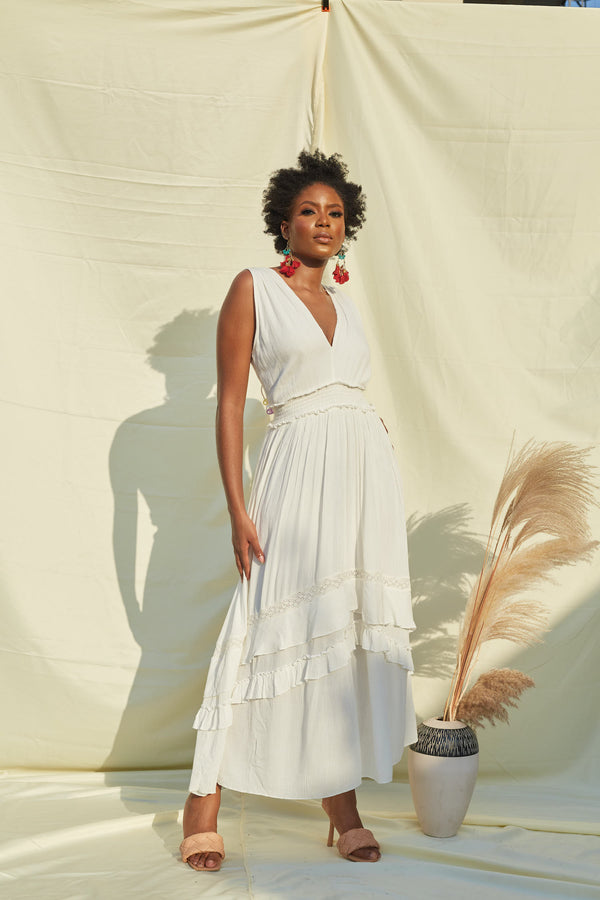 Cream V Neck Maxi Dress