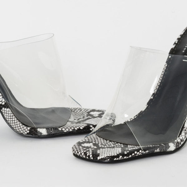 Black and White Snake Print Clear Block Heel Mules
