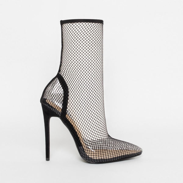 Black Clear Fishnet Heels