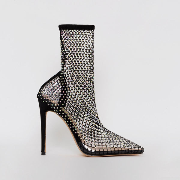 Black Diamante Fishnet Heels