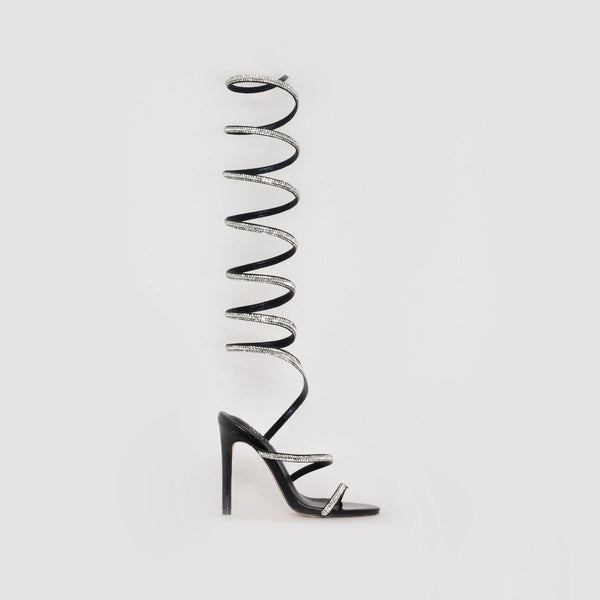 Black Diamante Spiral Heels