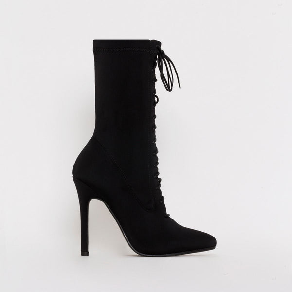 Black Lycra Lace Up Pointed Ankle Boots