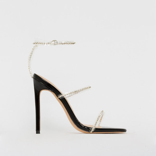 Black Patent Clear Diamante Stiletto Heels