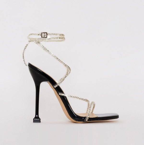 Black Patent Clear Diamante Strappy Heels