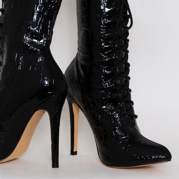 Black Patent Croc Print Lace Up Pointed Ankle Boots