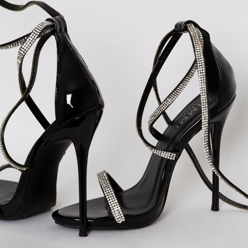 Black Patent Lace Up Diamante Heels