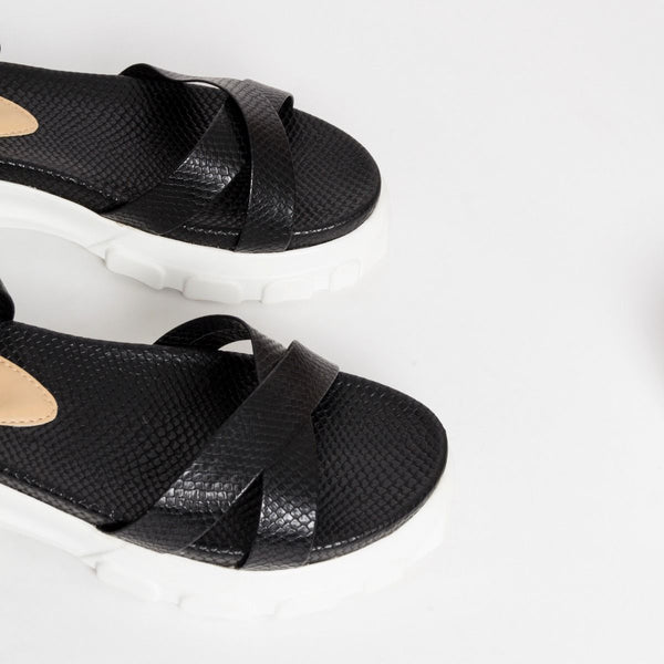 Black Snake Chunky Sandals