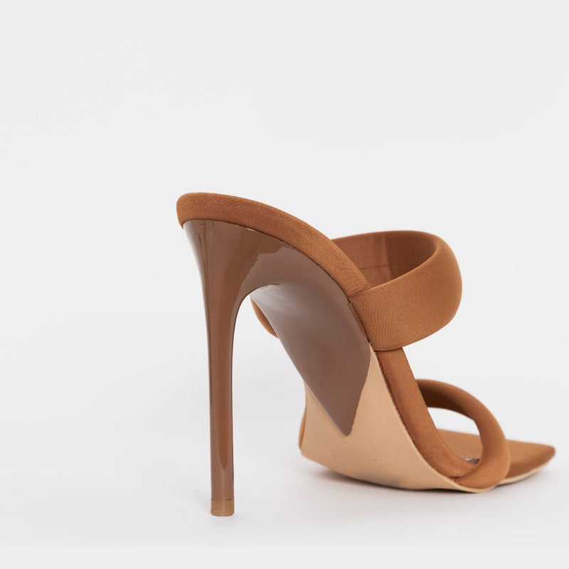 Brown Lycra Padded Strap Stiletto Mules