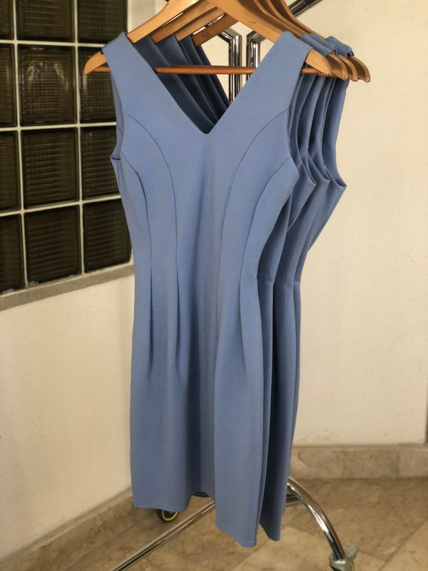 Baby Blue V Neck Bodycon Dress