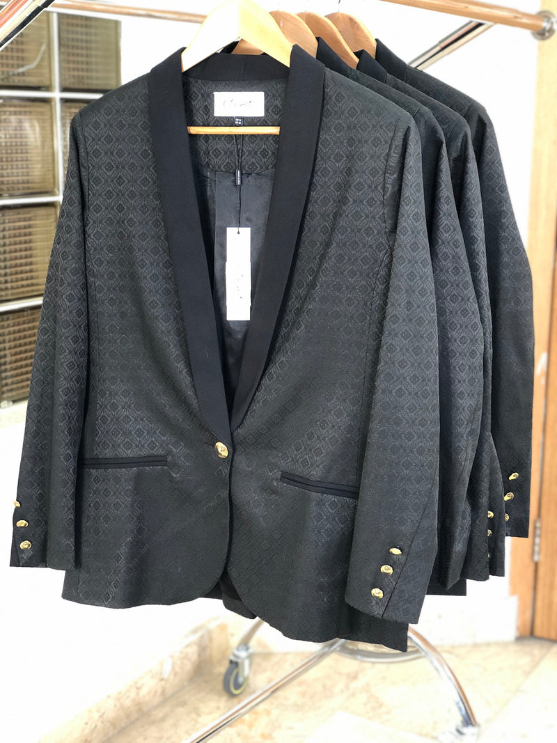 Black Jacquard Gold Button Detail Blazer