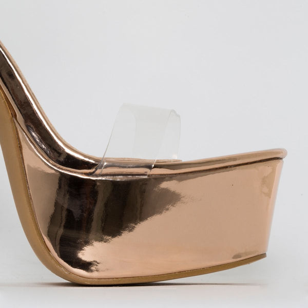 Clear Rose Gold Platform Heels