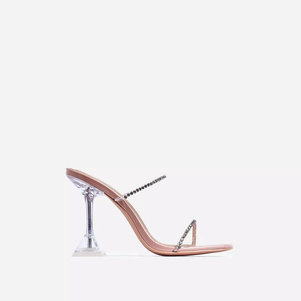 Nude Patent Diamante Clear Sculptured Heel Mule