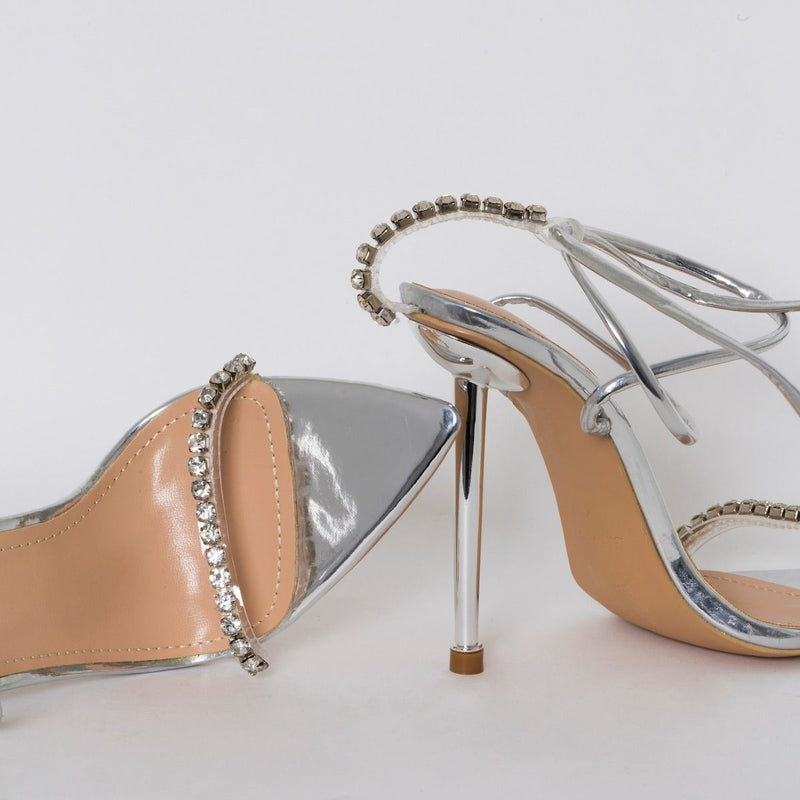 Silver Clear Diamante Lace Up Stiletto Heels