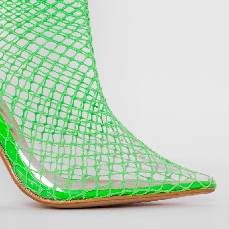 Green Fishnet Heels
