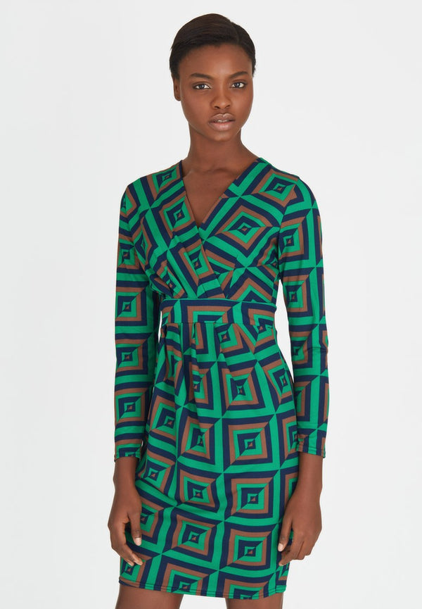 Green and Brown Geometric Print Ruch Style Dress