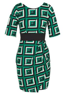 Green and Cream Geometric Print Wrap Style Dress