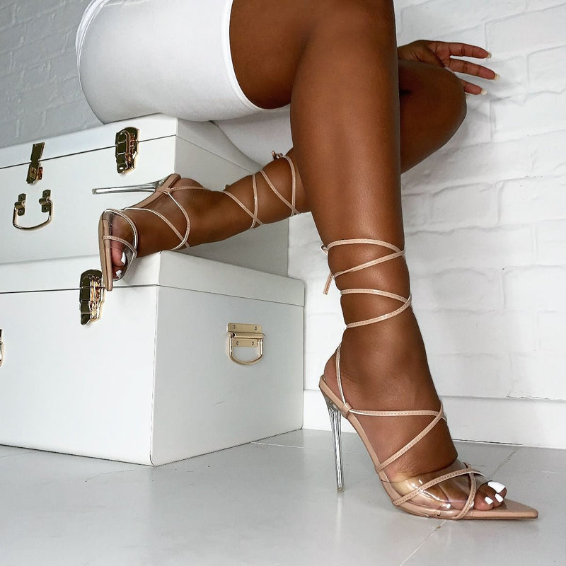 Hailey Nude Patent Lace Up Clear Heels