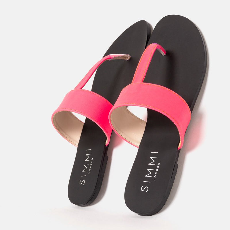 HOPE NEON PINK FLAT THONG SANDALS