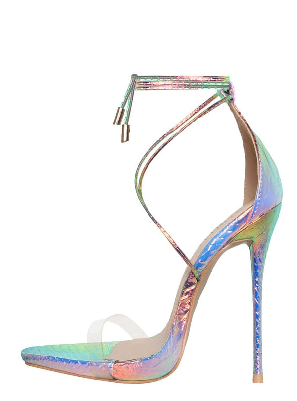Iridescent Snake Clear Lace Up Stiletto Heels