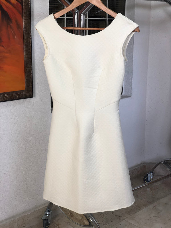 Ivory Quilted A Line V Back Dress