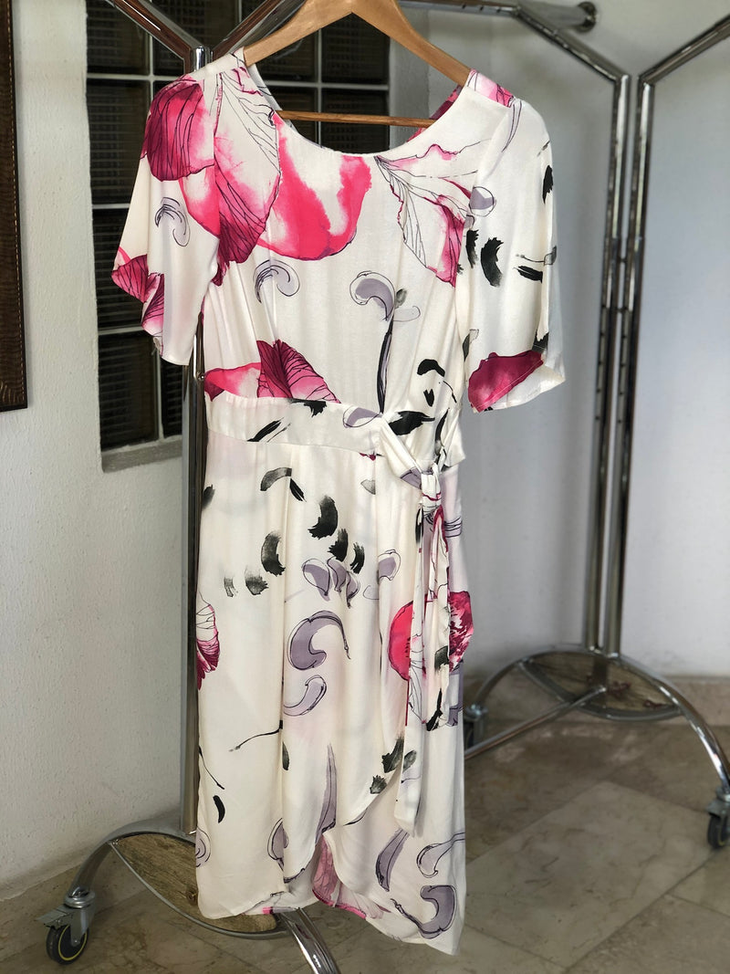 Ivory and Pink Floral Wrap Skirt Dress
