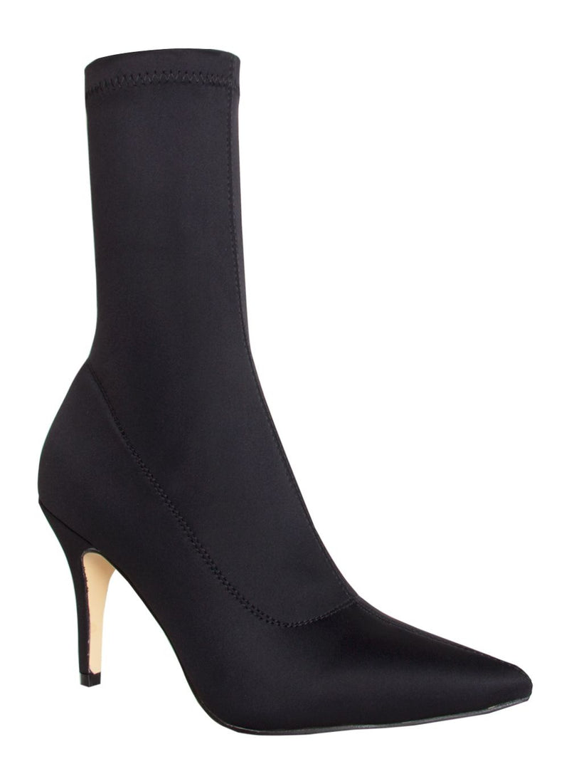 Letty Black Lycra Ankle Boots