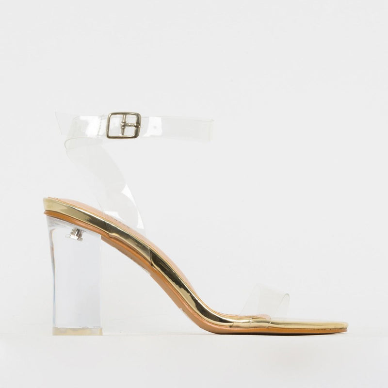 Light Gold Clear Mid Block Heels