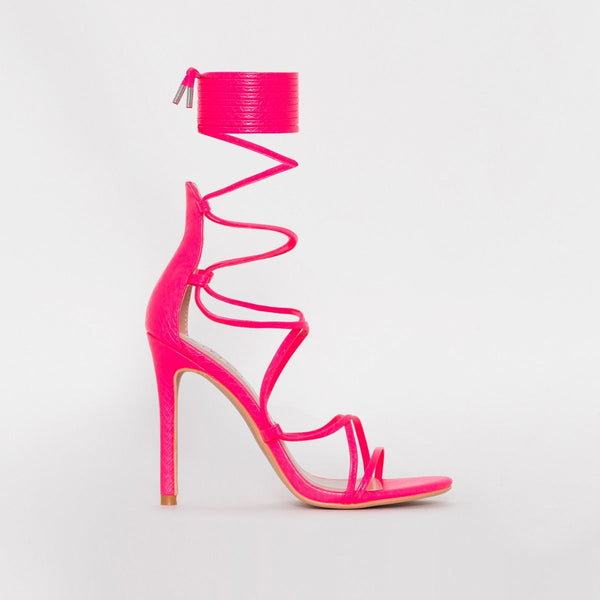 Neon Pink Snake Print Strappy Lace Up Heels